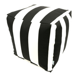 Majestic Home - Outdoor Black Vertical Stripe Small Cube - Add style and color to your living room or outdoor seating arrangement with Majestic Home Goods Small Cube Ottoman. This cube is perfect for use as a footstool, side table or as extra seating for guests. Woven from outdoor treated polyester, these cubes have up to 1000 hours of U.V. protection and are able to withstand all of natures elements. The beanbag inserts are eco-friendly by using up to 50% recycled polystyrene beads, and the removable zippered slipcovers are conveniently machine-washable.