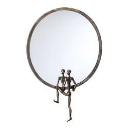 Cyan Design - Cyan Design Kobe Left-Facing Wall Mirror - Take a Look in the MirrorMore than just a simple circle mirror. It's eclectic, abstract art to be sure. A human form seems to climb into the wall decor piece, finished in a rugged raw steel tone. This wall mirror is a go-anywhere piece, and it's certainly something unique - you should hang the Kobe Left-Facing Mirror somewhere it can be seen. Balance it with the right-facing one for a quirky pair.  Frame crafted from ironFinished with a raw steel toneLeft-facing character accentMounting hardware includedMatches the Kobe Right-Facing Wall Mirror