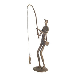Danya B - 12 Inch Handcrafted Cast Bronze Fisherman Collectible Statue Figurine - This gorgeous 12 Inch Handcrafted Cast Bronze Fisherman Collectible Statue Figurine has the finest details and highest quality you will find anywhere! 12 Inch Handcrafted Cast Bronze Fisherman Collectible Statue Figurine is truly remarkable.