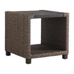 Frontgate - Blue Green Square Outdoor End Table, Patio Furniture - Inset Weatherstone top is hand-finished to replicate the textured look of natural slate yet is made from fiberglass and concrete for superior strength and durability, UV resistance and stain resistance. High-density polyethylene wicker offers a high tensile strength, low maintenance and resistance to UV exposure, mildew, fading, staining, stretching and cracking. All-weather wicker is easy to clean with a mild solution of soap and water. Elevate al fresco relaxation with contemporary warmth. With a sleek geometric shape and inviting materials, the all-weather Blue Olive Square End Table is a casual complement for any outdoor seating area. Slate-gray wicker, hand-woven into a channeled herringbone design, adds interest and texture while the rich Weatherstone tabletop mimics the luxurious look of natural slate.  .  .  .