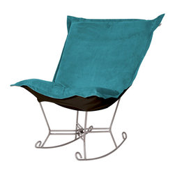 Howard Elliott - Mojo Turquoise Titanium Frame Scroll Puff Rocker - Nothing less than the most comfortable chair on the planet! The soft luxury and style of our Puff Collection is a great addition to any room. All Puff cushions are constructed with luxurious foam for optimal comfort. Like most HEC items, Puff cushions are removable for easy cleaning, are interchangeable between frames. Mojo Turquoise, suede-like texture in a bold turquoise blue color. 40 in. W x 37 in. D x 40 in. H