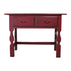 Painted Red Desk - This little oak writing table has a stunning red painted finish by Boulder Blue Studio.  Great for a foyer, TV console or childs' room! Finished on all 4 sides.Tinted with black glazes and sealed with a satin acrylic finish. Inside drawers are unpainted, clean, and work smoothly. Durable finish, just wipe with damp cloth to clean!