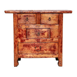 Golden Lotus - Rustic Lacquer Wood Country Side Cabinet - This side table has beautiful natural wear-out patina of the  lacquer. It is a special functional decorative piece for the modern home.