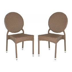 Safavieh - Valdez Indoor-Outdoor Stacking Side Chair - The fun creative design of the brown Valdez stacking side chair brings a new level of style to indoor and outdoor guest seating.  This sturdy, durable chair with modern round back is sold in sets of two and crafted with easy care, weather resistant PE wicker and aluminum.