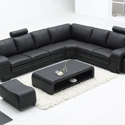 TOSH Furniture - Modern Black Bonded Leather Sectional Sofa - TOS-FY560-3-BN-HX0 - Bonded leather in combination with the best leather match