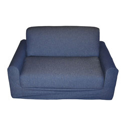 Fun Furnishings - Fun Furnishings Sofa Sleeper with Pillows in Denim - The sofa and chair sleepers are the perfect place to sit to read, watch TV or play a game. When it is time to take a nap or find a place for a little friend to spend the night, flip open the chair or sofa , add a blanket and pillow and you are all set. Grandparents love having one at their home too. Built-in durability. We've worked hard to make our furniture durable and help it retain its appearance. We use high-density foam to make the furniture hold up to the tough use it receives from kids. We include a layer of fiber on the seating surfaces to keep the fabric tight much longer.