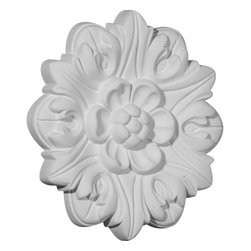 "Ekena Millwork - 7 5/8""OD x 1 3/8""P Kent Rosette - 7 5/8""OD x 1 3/8""P Kent Rosette. Our rosettes are the perfect accent pieces to cabinetry, furniture, fireplace mantels, ceilings, and more. Each pattern is carefully crafted after traditional and historical designs. Each piece comes factory primed and ready for your paint. They can install simply with traditional adhesives and finishing nails."