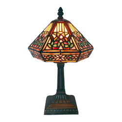 Warehouse of Tiffany - Tiffany Style Floral Mosaic Table Lamp - Illuminate your room decor with this brilliant Tiffany-style mosaic table lamp. A stained glass look lights up your favorite space with multicolored light. A unique angled shade and beautiful bronze hardware add a posh finishing touch.