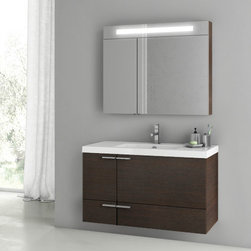 ACF - 39 Inch Wenge Bathroom Vanity Set - Complete your upscale bath with this luxurious bathroom vanity from ACF. This contemporary & modern, high-quality bath vanity is imported from Italy with engineered wood and mirrored glass and ceramic and available in wenge. From the ACF New Space collect