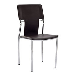 """LexMod - Studio Dining Side Chair in Black - Studio Dining Side Chair in Black - Uplift yourself with resolute strides of perfection in this recreational dining chair. With a clean vinyl seat and back and polished chrome steel tube legs, compliment your room with this strident work of untold proportions. Set Includes: One - Studio Dining Chair Clean modern dining chair, Vinyl seat and back, Chrome plated steel base Overall Product Dimensions: 19.5""""L x 17.5""""W x 35""""H Seat Height: 18""""H - Mid Century Modern Furniture."""