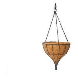 Water Drop Hanging Basket - At first glance, the Water Drop Hanging Basket seems to be in motion, as if it is melting or dripping onto the floor. Upon closer inspection, you can see that the durable, steel basket simply has a remarkable shape inspired by urn pendant lights. The graceful tapered lines give the basket unmistakable elegance that is only enhanced by flowers or vines spilling over its sides. Perfect for outdoor or indoor use, the hanging basket has a matte weather-resistant black powder coated finish and three embellished pinched link chains. To perfectly suit the needs of both your space and your artificial or living plants, the Water Drop Hanging Basket is sold in two sizes: a 12-inch and a 14-inch. The smaller design's bowl is 9 inches deep, and its chains measure 19 inches length. In the larger design, the bowl is 10 inches deep, and the chain is 20-1/2 inches long. A coco coir liner is included.