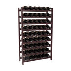 54 Bottle Stackable Wine Rack in Redwood with Burgundy Stain + Satin Finish - Three times the capacity at a fraction of the price for the 18 Bottle Stackable. Wooden dowels enable easy expansion for the most novice of DIY hobbyists. Stack them as high as you like or use them on a counter. Just because we bundle them doesn't mean you have to as well!