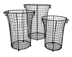 Home Decorators Collection - Canto Wire Baskets - Set of 3 - Keep your loose accessories and supplies organized but in sight with our set of 3 Canto Wire Baskets. Perfect for balls of yarn, bags of dry baking goods, small toys and more, these versatile baskets will help you organize any room in your home. 3 graduated baskets. Iron with rustic black finish. Tapered design with ball feet and handles for easy carrying.