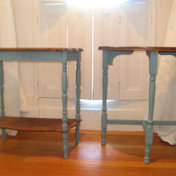 Custom Rustic Furniture - A beautiful eclectic pair of shabby chic french blue end tables. Refinished to show the beautiful wood grain on the tops while still adding a splash of color to your room. $110 for the pair.