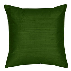 The Silk Group - Green 22x22-Inch Silk Dupioni Square Poly Insert Decorative Pillow - - Handcrafted in the USA these decorative pillows are ideal for adding that special finishing touch to any space. Available in over 100 colors several of them can be combined for a grouping of complementary colors or contrasting shades. They feature 100% Grade A Silk Dupioni the finest highest quality most exquisite silk fabric on the market. A high quality knit backing is permanently bonded to the back of the fabrics used in our pillows. The knit backing adds body increased stability and longevity to the pillow. An invisible color-coordinated zipper is discretely placed on the bottom edge of the pillow so both faces of the pillow are able to be displayed. The pillow inserts we use are over-sized so our pillows will always have that desirable high soft and fluffy appearance. Our pillows are available without the insert too if you prefer to use your own. The fabric face has been treated with the most durable and permanent stain moisture and UV repellants available. This provides long lasting protection from water alcohol and oil-based stains as well as resistance from fading and discoloring over time.  - Fill Material: Down  - Dry Clean Only The Silk Group - SQ_Dup_Sol_Green_22x22_Poly
