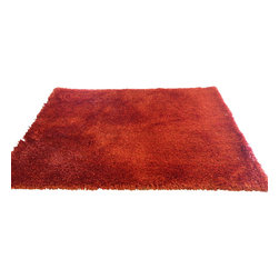 Rug - ~5 ft. x 7 ft. Red Living Room Area Rug, Shaggy & Hand-tufted, Made In Tibet - Living Room Hand-tufted Shaggy Area Rug