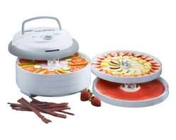 Metal Ware Corp. - Nesco 700 Watt Pro Dehydrator - Nesco FD-75PR Snackmaster Pro 700 Watt Food Dehydrator. It's sleek, contemporary design In grey and marble color features a top mounted fan, 700 watts of drying power, and generates maximum speed and quality for dehydrating fruits, vegetables, beef jerky, and venison jerky. Helps dry food in hours, not days like ordinary food dehydrators. Makes delicious Beef Jerky even turkey jerky, and fish jerky. Make trail mix, homemade yogurt, apple snacks, banana chips, dried soup mixes, dried tomatoes, watermelon, cantaloupe, honeydew, mangoes, papaya and other dried fruits at a fraction of the cost. Make dried herbs and spices.  also make potpourri and dried flowers for any occasion. FEATURES: The adjustable thermostat allows you to dry different foods at proper temperatures (95-160 degrees F), providing the flexibility to produce the best drying results. Top mounted fan and 700 watts of drying power generate maximum speed and quality for dehydrating fruits, vegetables, and jerky. Helps dry food in hours, not days like other food dehydrators. Expandable unit comes with 5 trays, but is expandable to 12 trays with optional Add-A-Trays. Opaque Vita-Save exterior helps block harmful light which destroys nutritional content of food being dehydrated. Patented Converga-Flow drying system forces air down the exterior pressurized chamber (not through the trays). The hot air is forced horizontally across each individual tray, converging on the core for fast, even and nutritious drying. No flavor mixing and no need to rotate trays. This Model Includes: 5 Drying Trays, 2 Clean-A-Screens, 2 Fruit Roll Sheets, 3 Original Spices.