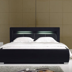 Groz Modern Leather Bed Frame - Black - Built-in lighting and modern styling combine to make this Groz Bed frame a wonderful addition for nearly any home.  This leather bed frame is both practical and stylish.