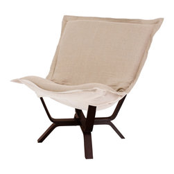 Howard Elliott - Howard Elliott Prairie Linen Natural Milan Puff Chair - Milan puff chair prairie linen natural