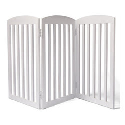"""Grandin Road - 36""""H Freestanding Wooden Pet Gate - Panels fold in both directions for easy and versatile arrangement. Folds neatly away when not in use. Blends magnificently with any decor. This beautifully crafted Freestanding Wooden Pet Gate is unlike the cumbersome gates of the past. Our solid mahogany gate limits your pet's access to certain areas of your home without creating the distraction of an imposing blockade.  .  .  . Note: This product is designed for pet use only."""