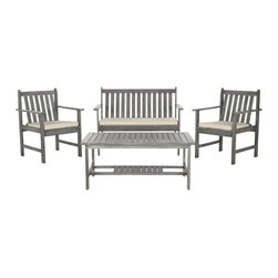 Safavieh - Safavieh Burbank Grey Wash Acacia Wood 4-piece Outdoor Furniture Set - A modern take on classic Shaker furniture,the Burbank 4-piece outdoor set blends with traditional and contemporary architecture.