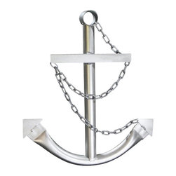 "Handcrafted Nautical Decor - Steel Navy Anchor with Chain 24"" - Silver - This Classic Navy Boat Anchor with Chain 24"" - Silver is the perfect nautical decor accessory for your living room, office, boat house, restaurant or any other location. This decorative ship anchor is made from high quality welded tubular steel and can be easily hung or leaned against a wall. Dozens of decorative boat anchors to choose from: available in 2,3 or 5 feet as well as in black, blue, gold, green, red, silver, white and yellow."