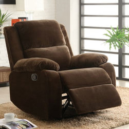 Homelegance - Homelegance Snyder Reclining Chair in Coffee Microfiber - As soothing as a cup of your favorite morning coffee, the Snyder Collection is the perfect platform to sit and relax. The coffee colored microfiber that covers the seating group is exquisitely soft to the touch, making your downtime more enjoyable. - 9707CF-1.  Product features: Snyder Collection; Coffee Microfiber; Modern Style; Quick release reclining mechanism. Product includes: Reclining Chair (1). Reclining Chair in Coffee Microfiber belongs to Snyder Collection by Homelegance.