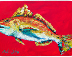 Caroline's Treasures - Fish - Red Fish Woo Hoo Kitchen Or Bath Mat 24X36 - Kitchen or Bath COMFORT FLOOR MAT This mat is 24 inch by 36 inch. Comfort Mat / Carpet / Rug that is Made and Printed in the USA. A foam cushion is attached to the bottom of the mat for comfort when standing. The mat has been permenantly dyed for moderate traffic. Durable and fade resistant. The back of the mat is rubber backed to keep the mat from slipping on a smooth floor. Use pressure and water from garden hose or power washer to clean the mat. Vacuuming only with the hard wood floor setting, as to not pull up the knap of the felt. Avoid soap or cleaner that produces suds when cleaning. It will be difficult to get the suds out of the mat