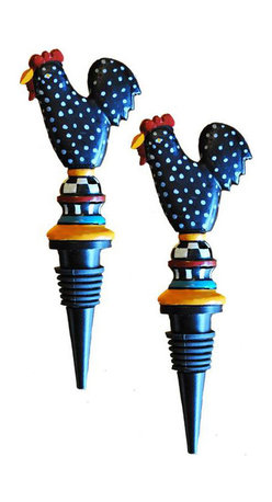 Golden Hill Studio - Metal Rooster Stopper Set of 2 - Stop trying to jam that wine cork back into the bottle! This whimsical bottle stopper saves your opened wine and adds a fun burst of color until it's all gone.