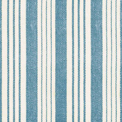 Birmingham Denim Woven Cotton Rug by Dash & Albert Rug Company - One of the most famous fictional Hamptons houses was the one in the movie, Something's Gotta Give. Who wouldn't love the airy rooms and cozy lighting of that amazing beach house? The main rooms featured striped rugs very like this one — the ideal foil to your all-white furniture.