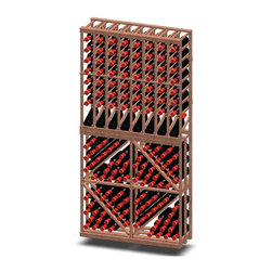 Vinotemp - 8-Column and Diamond Bin Combo Wine Rack - Floor standing. Made from premium redwood. Fits 128 bottles. 35.62 in. W x 12 in. D x 73.37 in. H (88 lbs.). Minimal assembly required. Made in USA. Custom made: 8 to 10 weeks lead time. Eight column rack on top with one row display racking. Four diamond bin for bottom. 3.75 in. racking. Fit most 750-ml bottles. Designed to display wine bottles in multiple views. Keeps bottles safely organized individually. Holds all sizes wine bottles. Provides an attractive and functional wine storage area for up to 64 bottles. Hand made. Completely customizable. WarrantyThese racks are a great modular option to build your own wine room.