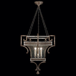 Fine Art Lamps - Villa Vista Six-Light Lantern in Hand Painted Driftwood Finish On Metal with Sil - Lantern in hand painted driftwood finish on metal with silver leafed accents and hand-blown seedy glass panels.  - Chain length (ft): 6  - Min Max Height in inches: 48 - 114  - Made in USA  - Fine Art Lamps is world-renowned for original elegant lighting designs favored by discerning designers architects consumers and luxury homebuilders. Exquisite finishes are the company's hallmark and many finishes take countless steps to achieve the desired effect. Each finish is handcrafted making it a one-of-a-kind work of art. Fine Art Lamps - 811940ST