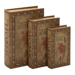 """Benzara - Set of 3 """"Home"""" Library Storage Books - Wood Book Box 13"""", 11"""", 9""""H - Set of 3 """"Home"""" Library Storage Books - Wood Book Box 13"""", 11"""", 9""""H. Some assembly may be required. Made with hollowed wood. Size - 9""""x3""""x13"""""""