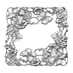 "Arthur Court - Butterfly 12"" Square Tray - Petal to the metal: This beautifully cast aluminum tray is home to delicately detailed garden flowers, trailing vines and of course, attendant butterflies. It's also perfectly sized for serving everything from snacks and appetizers to small sweets, so you'll be picking these flowers for your table every time you entertain."