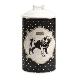 iMax - Dog Ceramic Canister Medium - Store all the Essentials for your canine friend in this beautiful medium ceramic container with royal graphics.