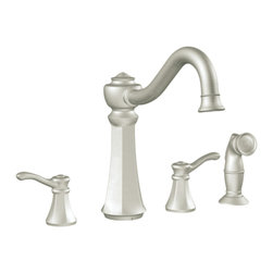Moen - Moen 7068CSL Vestige 2-Handle High-Arc Kitchen Faucet w/Spray (Stainless Steel) - The richly detailed Vestige series features a nostalgic design topped with a finial accent that complement traditional decor.