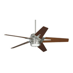Emerson - Emerson Luxe Eco Ceiling Fan in Brushed Steel - Emerson Luxe Eco Model CF550WABS in Brushed Steel with Walnut Finished Blades.