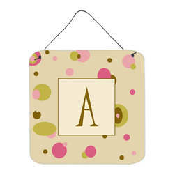 Caroline's Treasures - Letter A Initial Monogram - Tan Dots Aluminium Metal Wall Or Door Print - Great for inside or outside these Aluminum prints will add a special touch to your kitchen, bath, front door, outdoor patio or any special place.  6 inches by 6 inches and full of color.  This item will take direct sun for a while before it starts to fade.  Rust and Fade resistant.  Aluminum Print with Hanging Rope.  Rounded Corners.