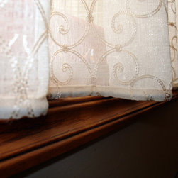 Cafe Curtains - scallop top lace cafe curtain, custom drapery