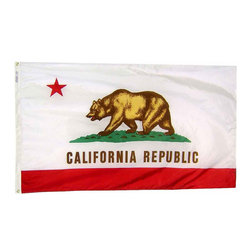 Flagline - California - 3'X5' Nylon Flag - Designed for outdoor use, these beautiful long-wearing 3' x 5' California flags are crafted from the highest quality 200-denier nylon. The colors are dyed into the fabric for superior penetration and color-fastness.Attaching to a pole is easy with the canvas header and brass grommets on the 3' side. The hem on the fly end of the flag features 4 lock stitched rows to help prevent premature fraying. The authentic designs are based on information from official sources.
