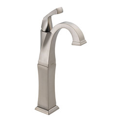 Delta Single Handle Centerset Lavatory Faucet - Less Pop-Up - 751-SS-DST - The clean lines and dramatic geometric forms of the Dryden Bath Collection are based on style cues from the Art Deco period.