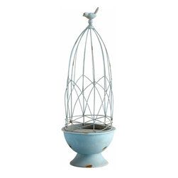Rusted Blue Bird on a Wire Metal Cage Topiary - Large - *Large Luneville Topiary