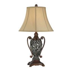 Lite Source - Table Lamp - Two Tone/Tan Fabric Shade - Table Lamp - Two Tone/Tan Fabric Shade