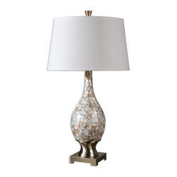 Billy Moon - Billy Moon Madre Mosaic Tile Transitional Table Lamp X-19462 - Mosaic tiles of mother of pearl accented with brushed aluminum accents. The round, slightly tapered hardback shade is a white linen fabric.