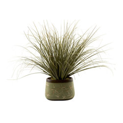 """D&W Silks - Artificial Onion Grass in Oblong Ceramic Planter - It's amazing how much adding a plant can change the look of a room or decor, but it can be difficult if your space is not conducive to growing plants, or if you weren't exactly born with a """"green thumb."""" Invite the beauty of nature into your home without all the upkeep with this maintenance-free, allergy-free arrangement of artificial onion grass in an oblong ceramic planter. This is not a living plant."""