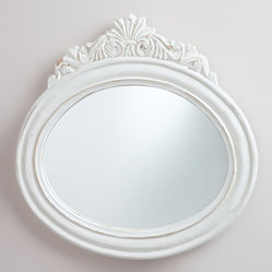 White Oval Adella Mirror
