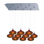 ET2 Lighting - E93948-141PC 10-Light RapidJack Pendant and Canopy Polished w/ Graduating Amber - Minx embodies a collection of show-stopping, conversation-starting pendants that range from simple to chic. Featuring RapidJack, no wire, no hassle installation, available with single, triple, or quadruple Xenon light sources, these Minx pendants boast a variety of finishes, shapes, and functions that suit most any room. For more information on Minx, check out Custom Pendant Systems.