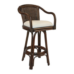 Hospitality Rattan Key West Swivel Rattan and Wicker 24-Inch Counter Stool - Channel the best parts of Key West with this rattan swivel stool. Customize it to fit with your decor by swapping out the upholstery to suit your fancy.