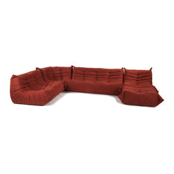 n/a - Downlow Sofa Set - 5 Piece Set, Dana Red - Inspired by the Togo sofa collection designed by Michel Ducaroy, Downlow 5 Piece Set has an iconic classic design. Both inviting and comfortable, Downlow sofa set features ergonomic designs with multiple density foam constructions and luxurious easy-care microfiber upholstery. Bring the look of this truly impressive reproduction sectional into your house or vacation home, it will add value and enhance the look of your home. An instant hit, Downlow 5 Piece Set is a fine example of a great design without sacrificing comfort. Downlow Collection offered in 5 different pieces that you can mix and match armless chair, sofa, loveseat, corner seat, and ottoman; with modular design we suggest playing with the layout and arrange the seating to fit your personal living space.