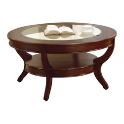 Homelegance - Homelegance Avalon Round Cocktail Table in Cherry - Homelegance - Coffee Tables - 120501 - This clean-lined transitional occasional group takes its roots from the art deco era of the 193's. The Avalon collection is both straight forward and dramatic. Excitement comes from its simple yet elegant design. Streamlined bowed fronts add movement and the glass insert of the round cocktail table provides additional drama. Constructed of maple veneer with select hardwood in a contemporary cherry low sheen finish.